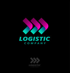 three arrows logo logistic delivery origami style vector image