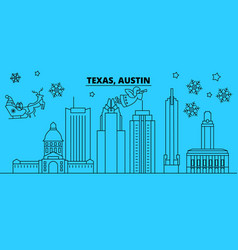 United states austin winter holidays skyline vector