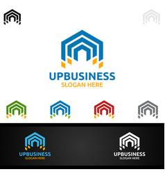 Up arrow digital marketing financial advisor vector