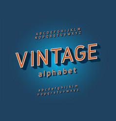 Vintage alphabet sans serif retro typography font vector