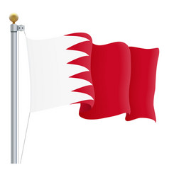 Waving bahrain flag isolated on a white background vector