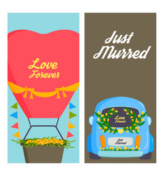 wedding fashion transportation traditional cards vector image