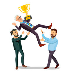 Winner businessman throwing colleague up vector