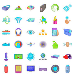 wireless technology icons set cartoon style vector image