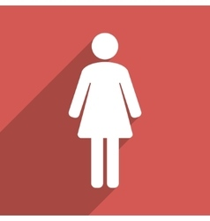Woman WC Flat Longshadow Square Icon vector