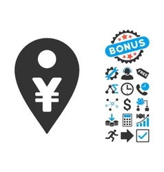 Yen Map Marker Flat Icon with Bonus vector image