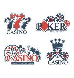 casino poker gambling icons templates of vector image vector image