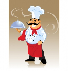 chef cook and plate vector image