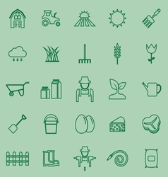 Farming line icons on green background vector image