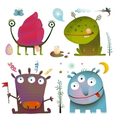 Fun Cute Little Monsters for Kids Design Colorful vector image