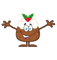 smiling christmas pudding cartoon character vector image vector image