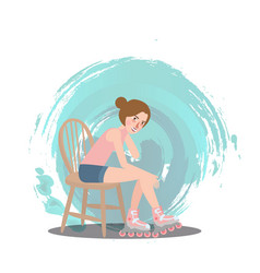 girl sitting wear roller skate shoe sport style vector image vector image