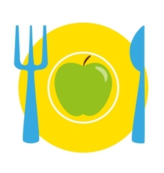Green apple on the yellow plate with blue fork and vector image