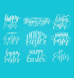 happy easter handwritten lettering setreligious vector image