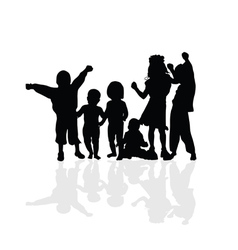 kids happy silhouette vector image vector image