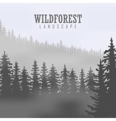 Pine tree landscape nature wood natural panorama vector image
