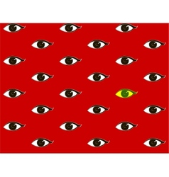 red background with eyes vector image