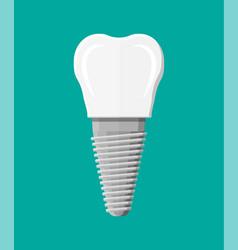 tooth restoration dental implant vector image vector image