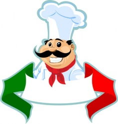 Italian chef label vector