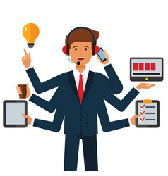 multitasking businessman cartoon flat vector image