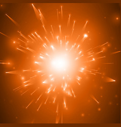 abstract fireworks explosion red background vector image