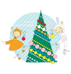 Children in Christmas costumes vector image vector image