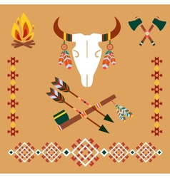 Ethnic ornament with bull skull and arrows vector image