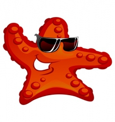 starfish in sunglass vector image vector image