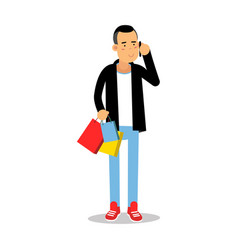 young man in fashionable clothes standing with vector image vector image