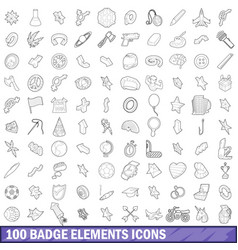100 badge elements icons set outline style vector