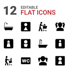 12 restroom icons vector image