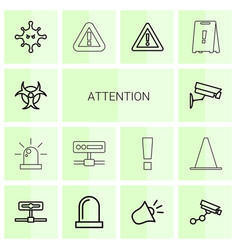 14 attention icons vector