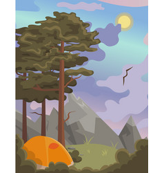 a poster with natural landscape with pines vector image