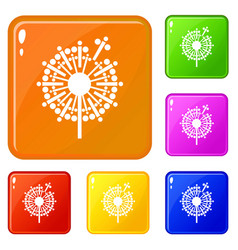 abstract dandelion icons set color vector image