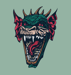 Angry dragon head vector