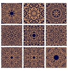 Arabic seamless floral pattern set for tile design vector image