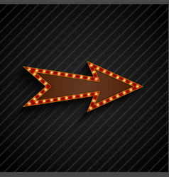 Arrow sign with light bulbs on black background vector