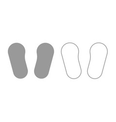 baby footprint in footwear icon grey set vector image