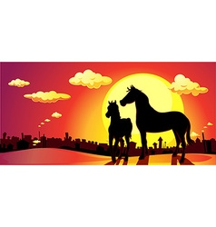 Banner horses in SUNSET above the city vector
