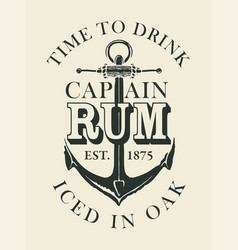Banner or label for rum decorated with anchor vector