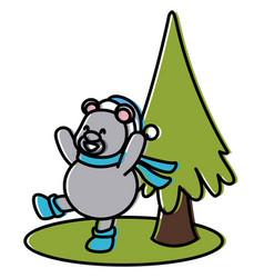 bear and christmas tree cartoon vector image