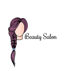 beauty salon logotype with doodle of vector image
