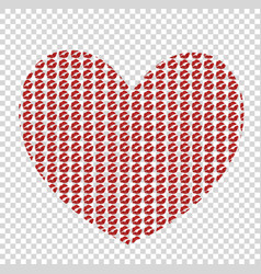 big red heart made of kissmarks isolated on vector image