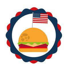 burger and flag american food celebration vector image