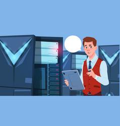 business man working on digital tablet in modern vector image