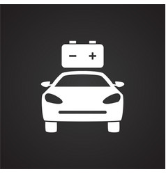 Car low battery on black background vector