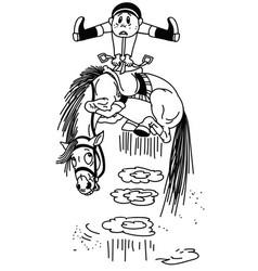 Cartoon horse throws off a rider bw vector