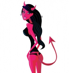 Cartoon retro devil pinup girl vector