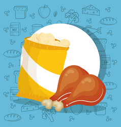 Chicken and potatoes bag vector