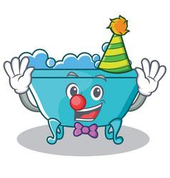 Clown bathtub character cartoon style vector